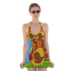 Thanksgiving turkey  Halter Swimsuit Dress