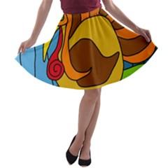 Thanksgiving turkey  A-line Skater Skirt