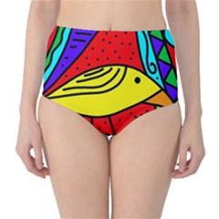 Yellow bird High-Waist Bikini Bottoms