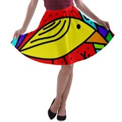 Yellow bird A-line Skater Skirt