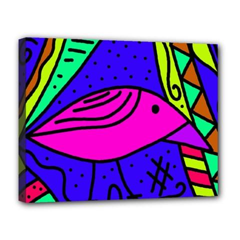 Pink bird Canvas 14  x 11