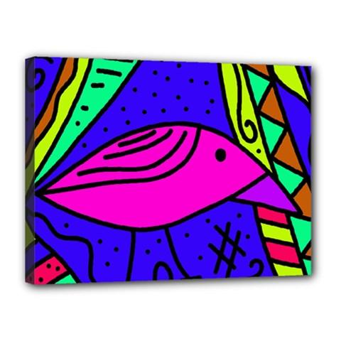 Pink bird Canvas 16  x 12