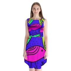 Pink Bird Sleeveless Chiffon Dress