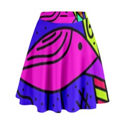 Pink bird High Waist Skirt