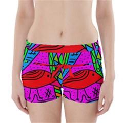 Red bird Boyleg Bikini Wrap Bottoms
