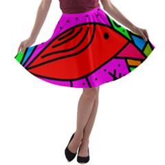 Red bird A-line Skater Skirt