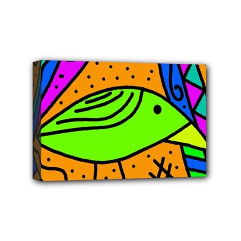 Green bird Mini Canvas 6  x 4