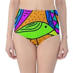 Green bird High-Waist Bikini Bottoms
