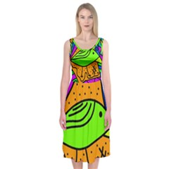 Green bird Midi Sleeveless Dress