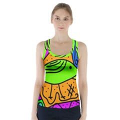Green Bird Racer Back Sports Top