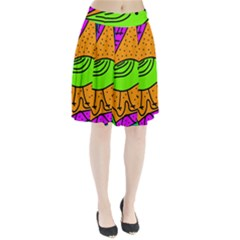 Green bird Pleated Skirt