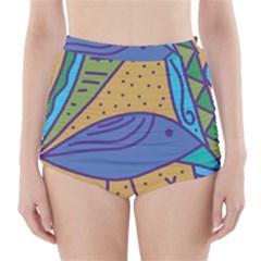 Blue bird High-Waisted Bikini Bottoms