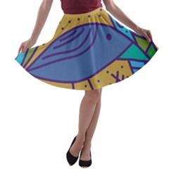 Blue bird A-line Skater Skirt