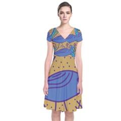 Blue bird Short Sleeve Front Wrap Dress