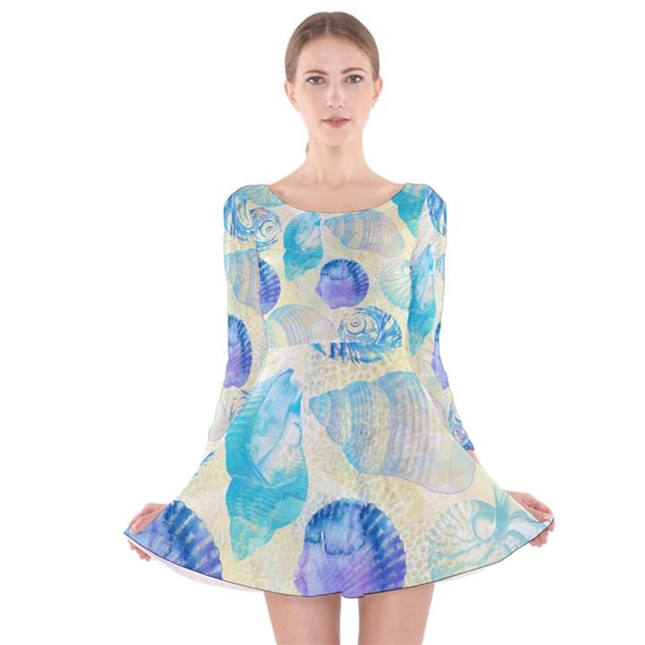 Seashells Long Sleeve Velvet Skater Dress