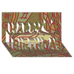 Brown bird Happy Birthday 3D Greeting Card (8x4)