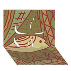 Brown bird Clover 3D Greeting Card (7x5)