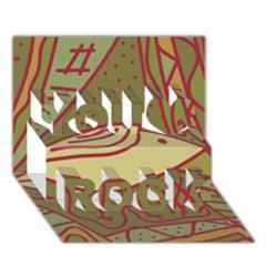 Brown bird You Rock 3D Greeting Card (7x5)