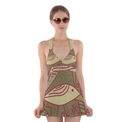 Brown bird Halter Swimsuit Dress