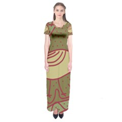 Brown bird Short Sleeve Maxi Dress