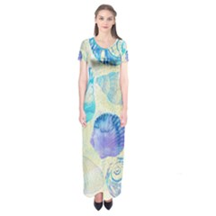 Seashells Short Sleeve Maxi Dress