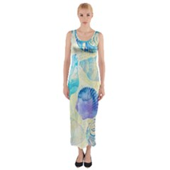 Seashells Fitted Maxi Dress