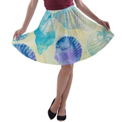 Seashells A Line Skater Skirt