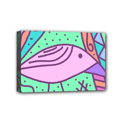 Pink pastel bird Mini Canvas 6  x 4