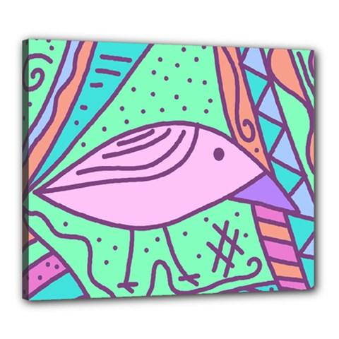 Pink pastel bird Canvas 24  x 20