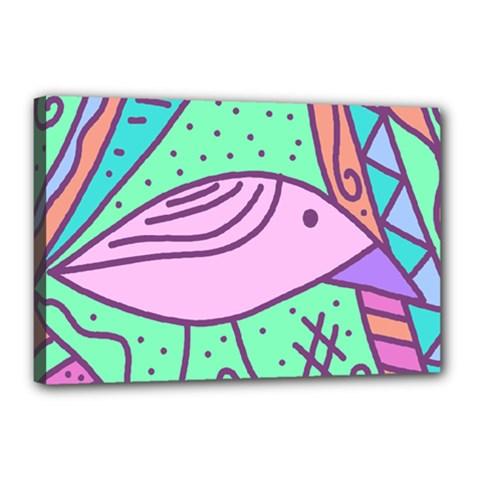 Pink pastel bird Canvas 18  x 12