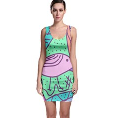 Pink pastel bird Sleeveless Bodycon Dress