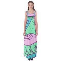 Pink pastel bird Empire Waist Maxi Dress