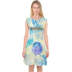 Seashells Capsleeve Midi Dress