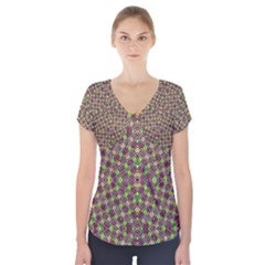 Art Digital (19)uikty7uiccc Short Sleeve Front Detail Top