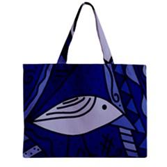 Blue bird Zipper Mini Tote Bag