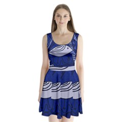 Blue bird Split Back Mini Dress