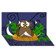 Halloween owl and pumpkin Twin Hearts 3D Greeting Card (8x4)