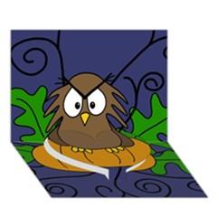 Halloween owl and pumpkin Heart Bottom 3D Greeting Card (7x5)
