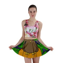 Halloween owl and pumpkin Mini Skirt