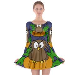 Halloween owl and pumpkin Long Sleeve Skater Dress