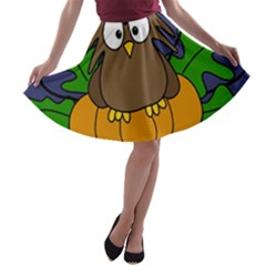 Halloween owl and pumpkin A-line Skater Skirt