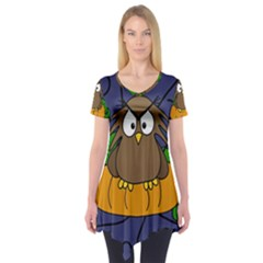 Halloween Owl And Pumpkin Short Sleeve Tunic