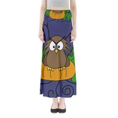 Halloween owl and pumpkin Maxi Skirts
