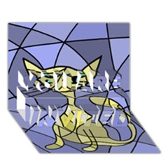 Artistic cat - yellow YOU ARE INVITED 3D Greeting Card (7x5)