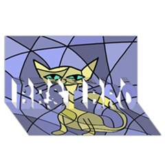 Artistic cat - yellow BEST BRO 3D Greeting Card (8x4)