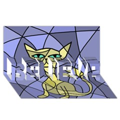 Artistic cat - yellow BELIEVE 3D Greeting Card (8x4)