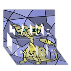 Artistic cat - yellow TAKE CARE 3D Greeting Card (7x5)