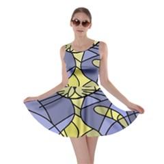 Artistic cat - yellow Skater Dress