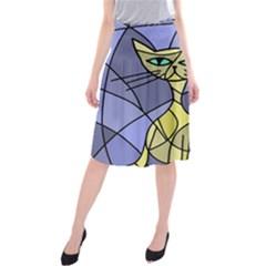 Artistic cat - yellow Midi Beach Skirt