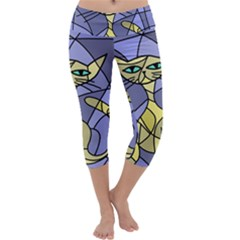 Artistic Cat   Yellow Capri Yoga Leggings
